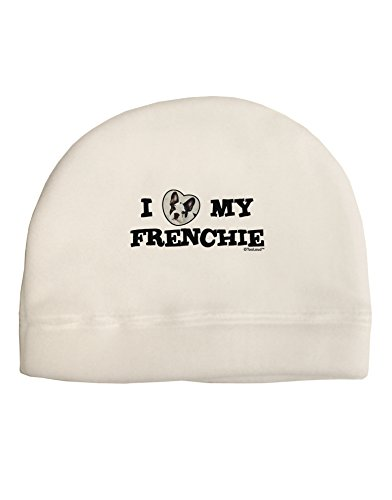 TOOLOUD I Heart My Frenchie Adult Fleece Beanie Cap Hat White