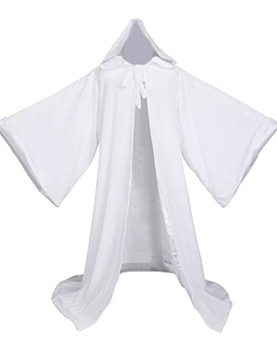 LuckyMjmy Velvet Wizard Robe with Satin Lined Hood and Sleeves (White)