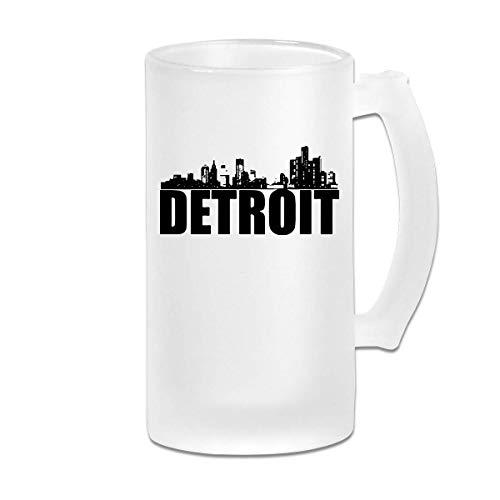 DJNGN Taza de cerveza helada de doble pared personalizada Detroit Motor City Congelador Vaso de cerveza con asa 16 oz