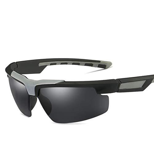 MIMIOOORE Hombre en Gafas de Sol Deportivas de conducción de la protección UV400 Ciclismo Running Pesca Golf Personalidad Semi-sin Montura Estilo polarizado (Color : Black)