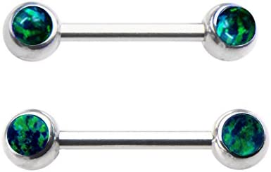 Pair of Sparkling Synthetic Greenish Blue fire Opal Nipple Rings Body Jewelry Piercing bar Barbell Shield Ring- 14 Gauge 14g
