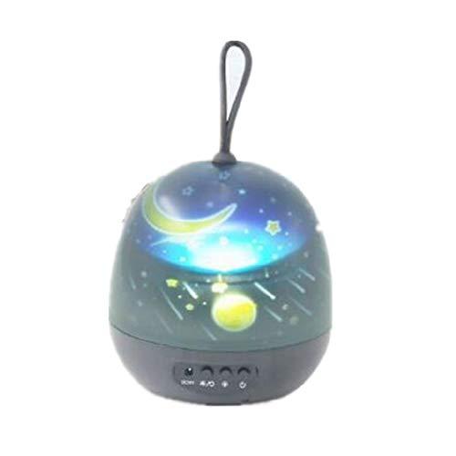 diubcucy, lampada a LED con rotazione a stella, piccola luce notturna, portatile, per ricarica USB, per camera da letto o atmosfera, ABS, Nero , medium
