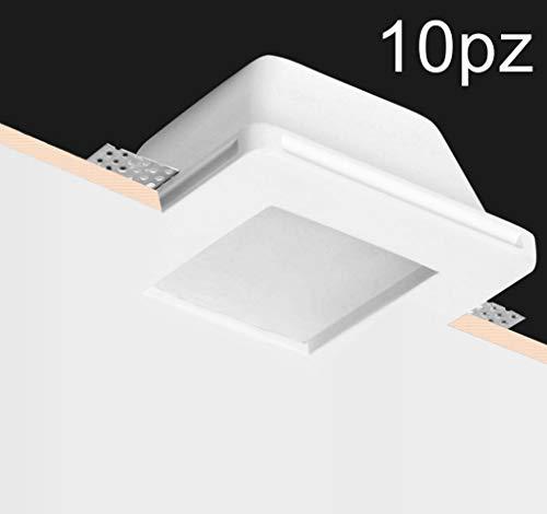 Eurekaled® - 10pz Portafaretto in Gesso CERAMICO da Incasso Quadrato con Vetro per Controsoffitti per GU10 e MR16 Cod.1264