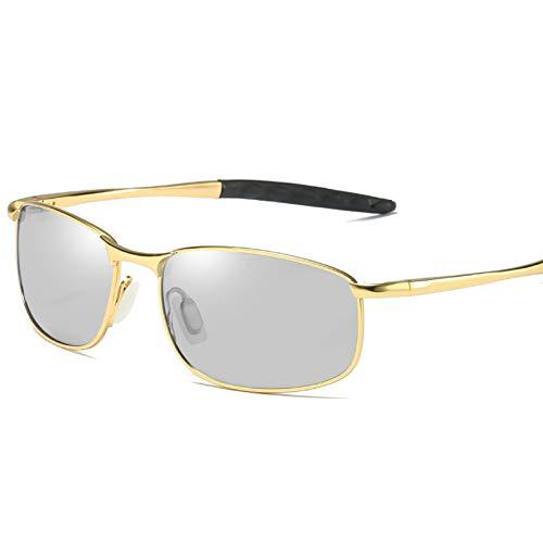 Burenqi Nuevo Cambio de Color polarizado Gafas de Sol fotocromáticas para Hombres Gafas de camaleón Hombres Gafas de Conductor Gafas de Sol de Pesca,Gold