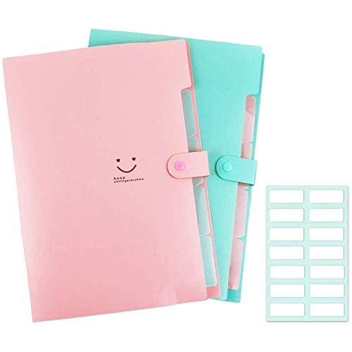 A4 Papier-Ordner aus Kunststoff, 5 Taschen, Akkordeon, Dokumenten-Organizer mit Schnappverschluss, für Schule und Büro, 2er-Pack, Rosa + Grün