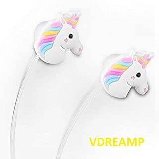 VDREAMP - Unicorn Earphone 3D Cartoon Earbuds Headphone in Ear with Remote and MIC Compatible with Smartphones iPhone Samsung Apple Android Tablets MP3 Stereo Wired 3.5 mm Best Gift (Unicorn MIC)