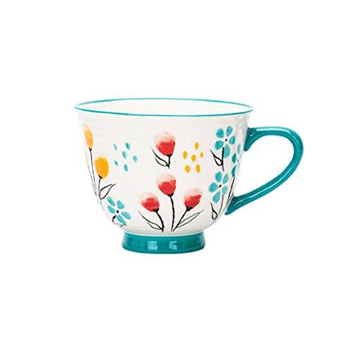 JLWM Cuenco para Sopa con Asa Estilo Japonés, Cuencos para Sopa Jarra Taza Tazón De Porcelana Cerámico Estilo Europeo Vintage Retro Microonda Colores para Desayuno Harina De Avena Té Café-I-375ML