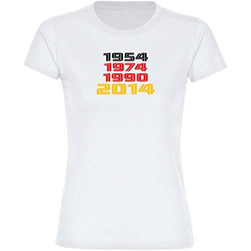 T-Shirt Deutschland mit Jahreszahlen Retro 1954 1974 1990 2014 Trikot Damen weiß Gr. S-2XL - Fanshirt Fanartikel Fanshop Trikot Fußball EM WM Germany,Größe:L
