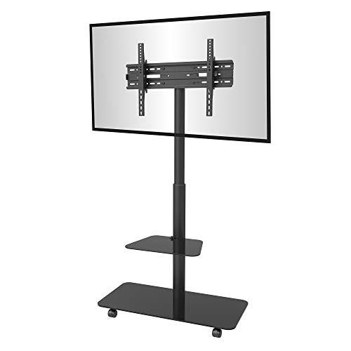 conecto® CC50589 TV-Ständer Standfuß rollbar Universal für Monitor Fernseher LCD LED Plasma mobil mit Rollen höhenverstellbar schwenkbar 32-65 Zoll (81-165 cm) max. VESA 600x400mm, schwarz