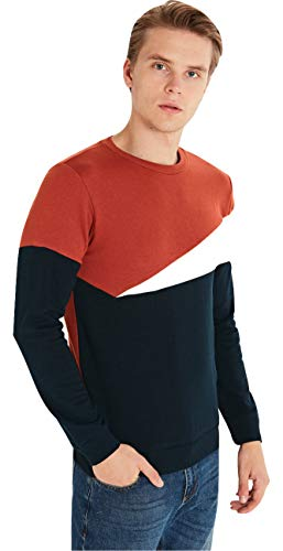LC Waikiki Herren dickes Sweatshirt gestreift mit rundem Kragen, mehrfarbig, Size M