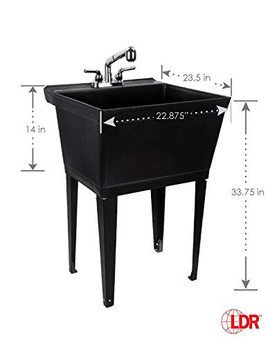 Black Utility Sink Laundry Tub With Pull Out Chrome Faucet, Sprayer Spout, Heavy Duty...