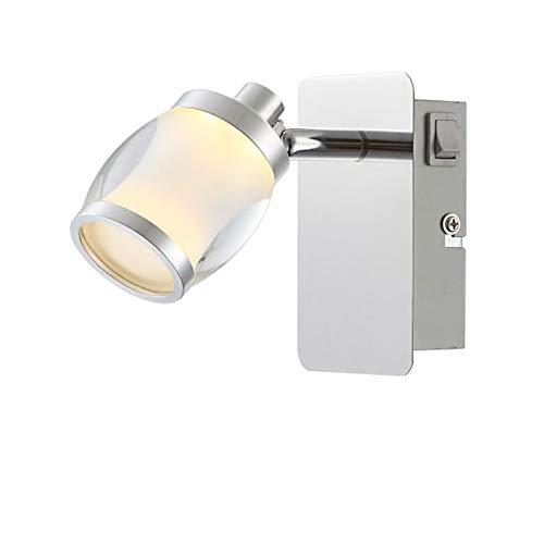 Wandspot voor binnen, LED-wandlamp met schakelaar, ganglamp, wandlamp, leeslamp (wandspot beweegbaar, woonkamerlamp, slaapkamerlamp, 5 watt, warmwit)