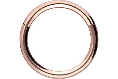 PIERCINGLINE Chirurgenstahl Segmentring Clicker | Piercing Ring Septum Helix Tragus | Farb & Größenauswahl, Roségoldfarben