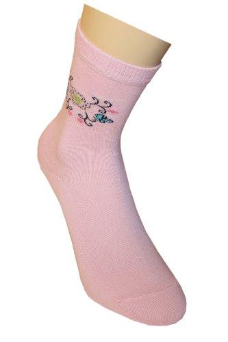 Weri Spezials Chaussettes pour Enfants, Couleur: Rose, Motifs Floraux, Taille: 12-24 mois (19-22)