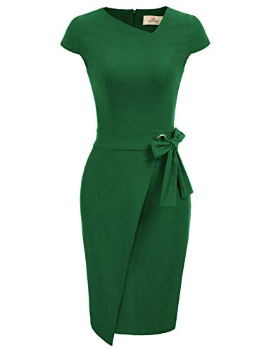 GRACE KARIN Potloodjurk elegante zakelijke jurk dames etui potlood jurk CL867, Cl867-3 (groen), S