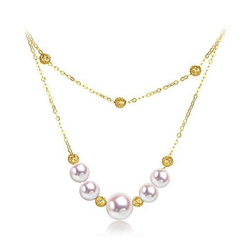Best Friend Collares, collar con colgante de doble capa de perlas de oro de 18 k para mujer, collar de gargantilla de perlas cultivadas en agua de mar, joyería delicada de 18 pulgadas