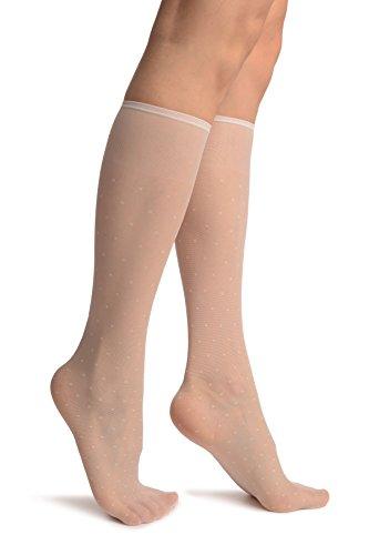 LissKiss White With Small Polka Dots Socks Knee High - Wei? Socken, Einheitsgroesse (37-42)