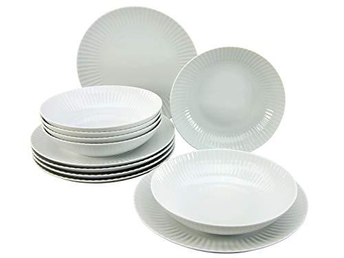 CreaTable 20246, seria Allegra, zastawa obiadowa zestaw 12 sztuk, biała obsługa