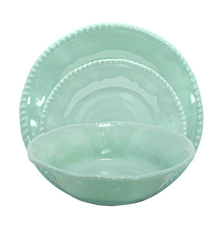 Deluxe Melamine Dinnerware Dishes, Soup, Cereal Bowls – Service for 6 - Roped - Teal