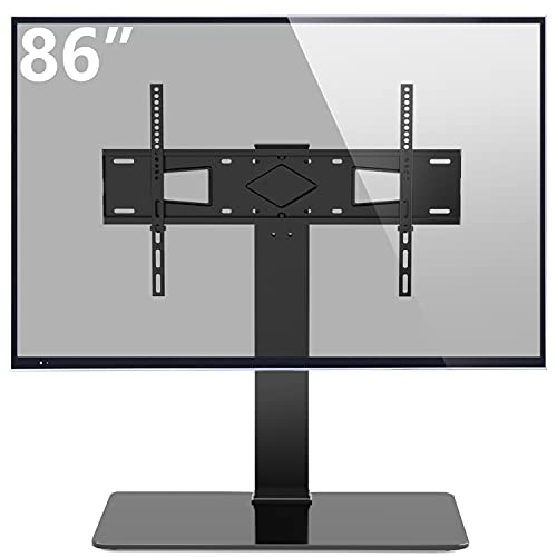Rfiver Universal Swivel TV Stand Tabletop TV Stand Base for Most 40-80 inch TVs, Height Adjustable with Tempered Glass Base and Wire Management, VESA 600x400mm, Black