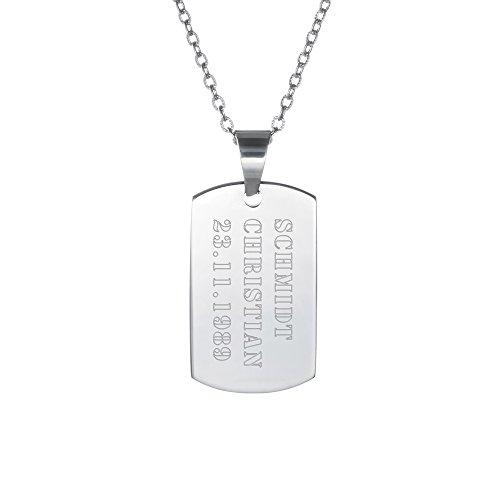 Gravado Halskette mit Erkennungsmarke aus Edelstahl im Armee Look, Personalisiert mit Name und Datum, Herren Schmuck