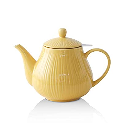 KOOV Ceramic Tea Pot with Stainless Steel Infuser, 40 ounce Large Enough For 6 Cups, Striped Series (Yellow)