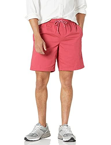 Amazon Essentials Drawstring Walk Short, Rojo (Washed Red), Large