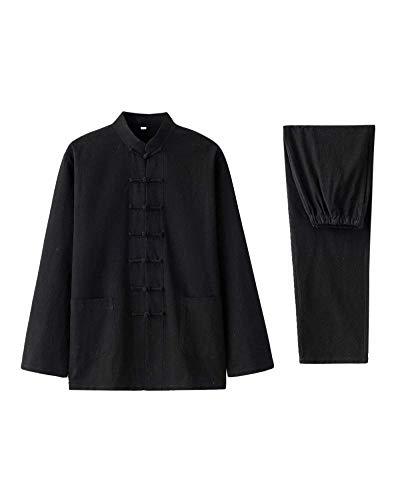 NOLLY Uniforme Tai Chi , Due Pezzi Tradizionali Hanfu Tang Suit Abbigliamento per Arti Marziali,Black-M