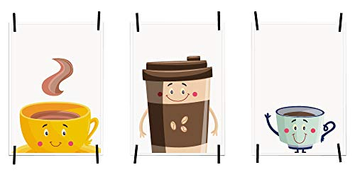myprinti® Keukenafbeeldingen, posters, foto's voor de keuken, keukenposter, kunstdruk, moderne wanddecoratie, keuken decoratie, koffiekopjes met gezicht, koffiekopjes, figuren