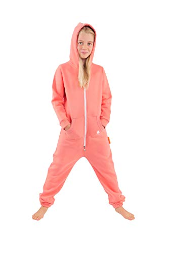 O'Poppy Kinder Jumpsuits Jungen Mädchen Overall Onsie Anzug mit Zwergen Kapuze (110-116, Rosa)