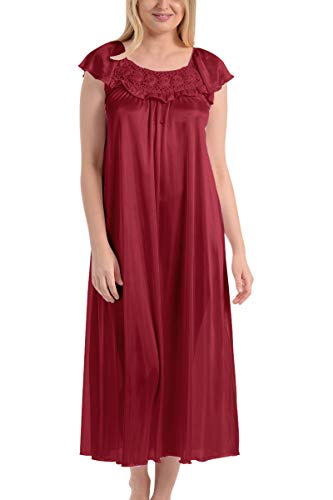 Ezi Women's Satin Silk Ruffle Long Nightgown,Wine,XL
