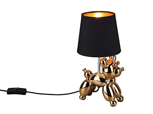 Reality Leuchten Beleuchtung Coole LED Tischleuchte Keramik Hundefigur Goldfarbig mit Stoff Lampenschirm in Schwarz, Höhe 33cm - Hundelampe