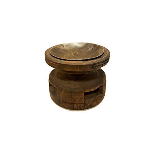 Kerzenhalter aus antiker Holzspindel, schönes Altholz, vintage Kerzenständer aus Indien, schön aufbereitet, shabby look, tolles Antik-Stück aus der Textilverarbeitung, upcycling UNIKAT