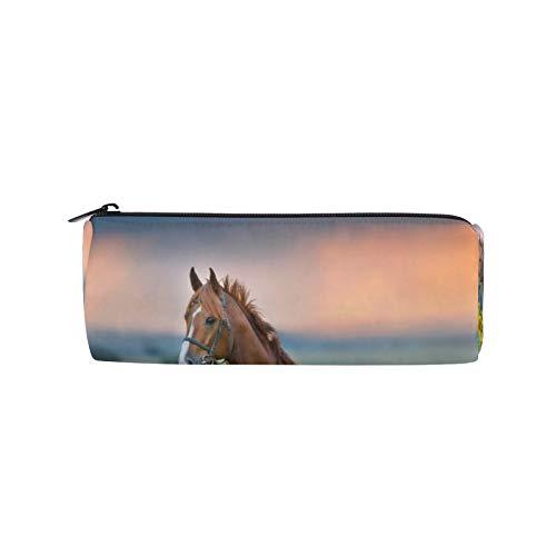 JNlover - Estuche para lápices con diseño de caballo y girasol, redondo, para escritorio, para adolescentes, niños, oficina