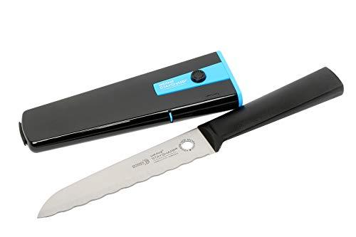 Wiltshire Staysharp Mehrzweckmesser 15 cm, Edelstahl Scharfe Klinge mit Spitzer, Küchenmesser mit Selbstschärfsystem (Farbe: Schwarz, Blau)