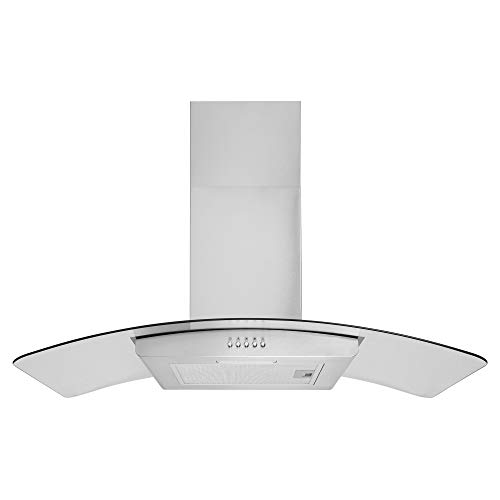 Cookology GHC901SS 90cm Curved Glass Cooker Hood Kitchen Extractor fan stainless steel