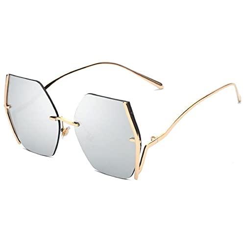 FSDFS Gafas de Sol sin Montura de Metal para Mujer, Grandes y Marrones, con gradiente, Gafas de Sol