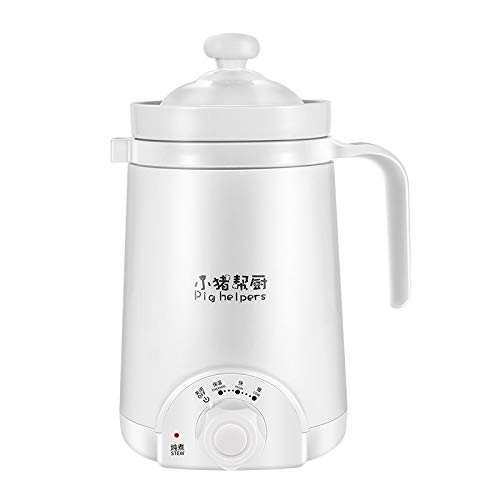 110V Voltage Health Cup Office Ceramic Electric Stew Cup Porridge Cup Dormitory Mini Heated Water Cup Portable Electric Slow Cooker (White-110V)