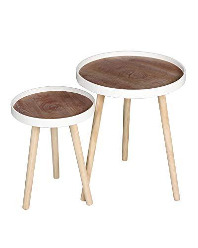 Heute Beistelltisch-Set, 2er-Set Sofatische, Satztische, Couchtische mit Beinen aus Massivholz, Tischkombination fürs Wohnzimmer und Balkon (Weiß3)