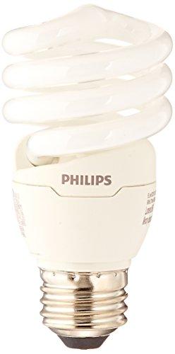 Philips LED 420091 Energy Saver Compact Fluorescent T2 Twister (A19 Replacement) Household Light Bulb: 6500-Kelvin, 13-Watt (60-Watt Equivalent), E26 Medium Screw Base, Daylight Deluxe, 4-Pack