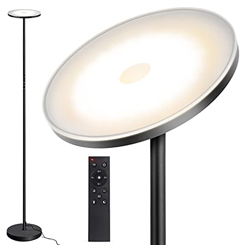 Lámpara de Pie OUTON, 30 W/2400 lm, Moderna Lámpara de Pie LED, regulable sin niveles, con 4 Temperaturas de Color, Control Remoto y táctil para Salón, Dormitorio, Oficina, Negro