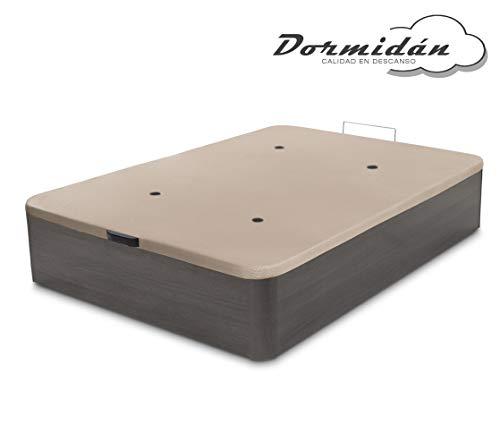 Dormidán - Canapé abatible de Gran Capacidad con Esquinas Redondeadas en Madera, Base tapizada 3D Transpirable + 4 válvulas aireación 150x190cm Color Ceniza