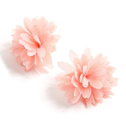 JOKnet イヤリング レディース アクセサリー 花 フラワー ふわふわ ネジバネ式 かわいい パステル おしゃれ ピンク F