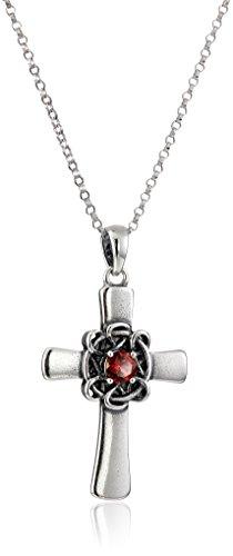 Sterling Silver Oxidized Genuine Garnet Celtic Cross Pendant Necklace, 18'