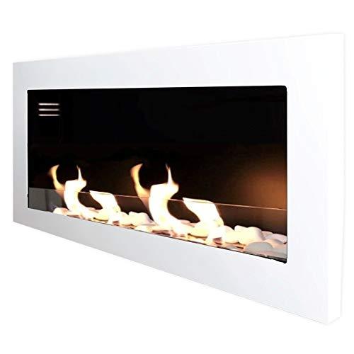 Caminetto a bioetanolo Mierzwa, modello TCP  Set di contenitori in vetro di sicurezza per bruciatori e estintore di fiamma in acciaio inox, colore a scelta, Bianco