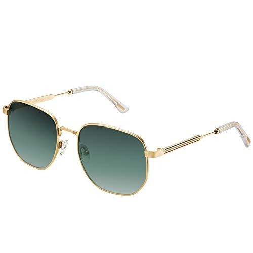AVAWAY Occhiali da sole polarizzati uomo protezione UV occhiali per sport all'aperto guida, pesca golf Montatura dorata, lente verde sfumata. Taglia unica