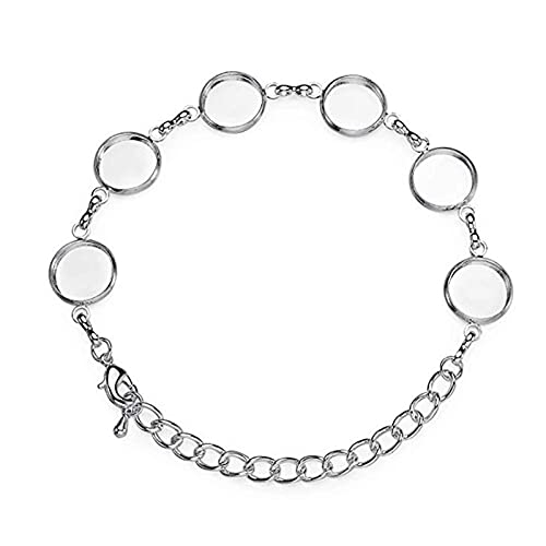 Qe - 6 almohadillas redondas para biseles de cristal en blanco para hacer joyas Y108 (tamaño: 12 mm)