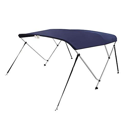 "VINGLI 3 Bow Bimini Top Boat Cover Boat Canopy Waterproof Stainless Aluminum Frame with Storage Boot and Hardware Box 6'L x 46"" H x 54""-60"" W Navy Blue"