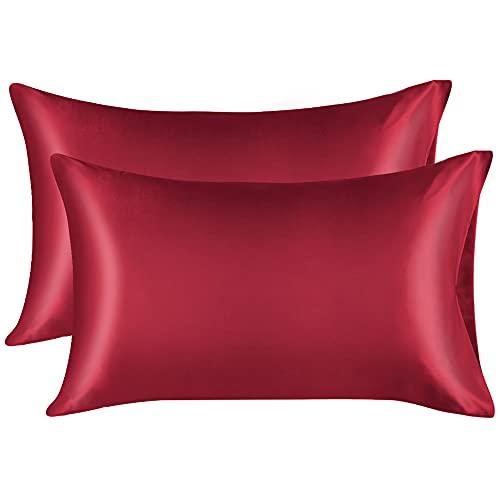 Lirex 2 Paquetes Funda Almohada Seda, King Size Microfibra de Color Sólido Suave Funda de Almohada de Seda, Sin Arrugas Resistente a la Decoloración Respirable, Vino Rojo