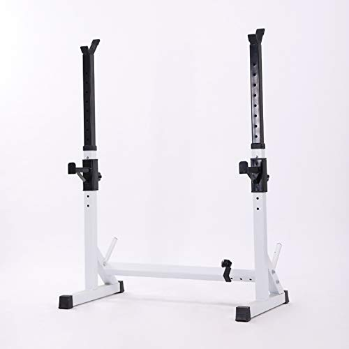 Rindasr Strength Training Equipment,Weights, Squat Barbell Rack, 12 Height adjustments Weightlifting Rack, Multifunctional Barbell Rack, 400LBS Max Load (Color : White)